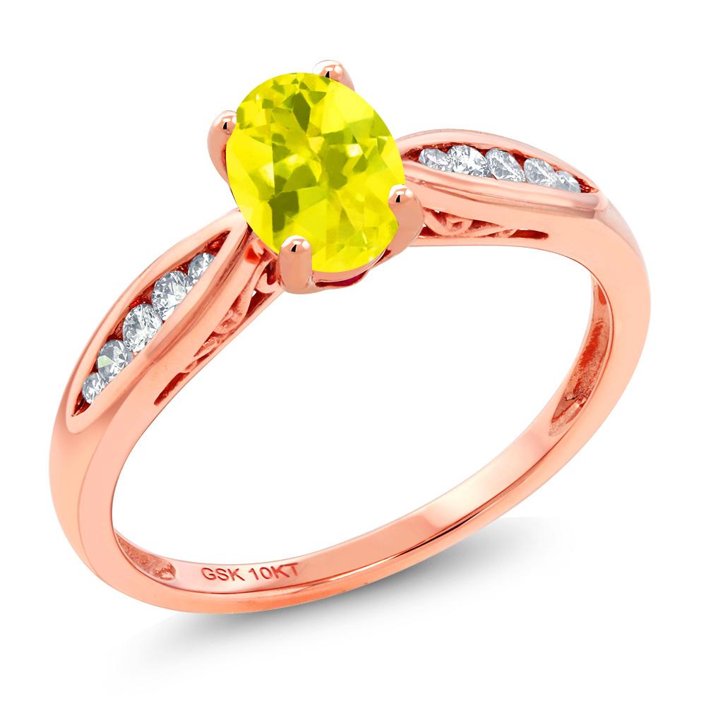 Gem Stone King 0.87カラット 天然石 ミスティックトパーズ (イエロー) 天然 ダイヤモンド 10金 ピンクゴールド(K10) 指輪 リング レディース マルチストーン 天然石 金属アレルギー対応 婚約指輪 エンゲージリング