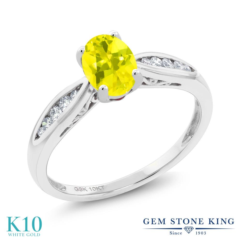 Gem Stone King 0.87カラット 天然石 ミスティックトパーズ (イエロー) 天然 ダイヤモンド 10金 ホワイトゴールド(K10) 指輪 リング レディース マルチストーン 天然石 金属アレルギー対応 婚約指輪 エンゲージリング