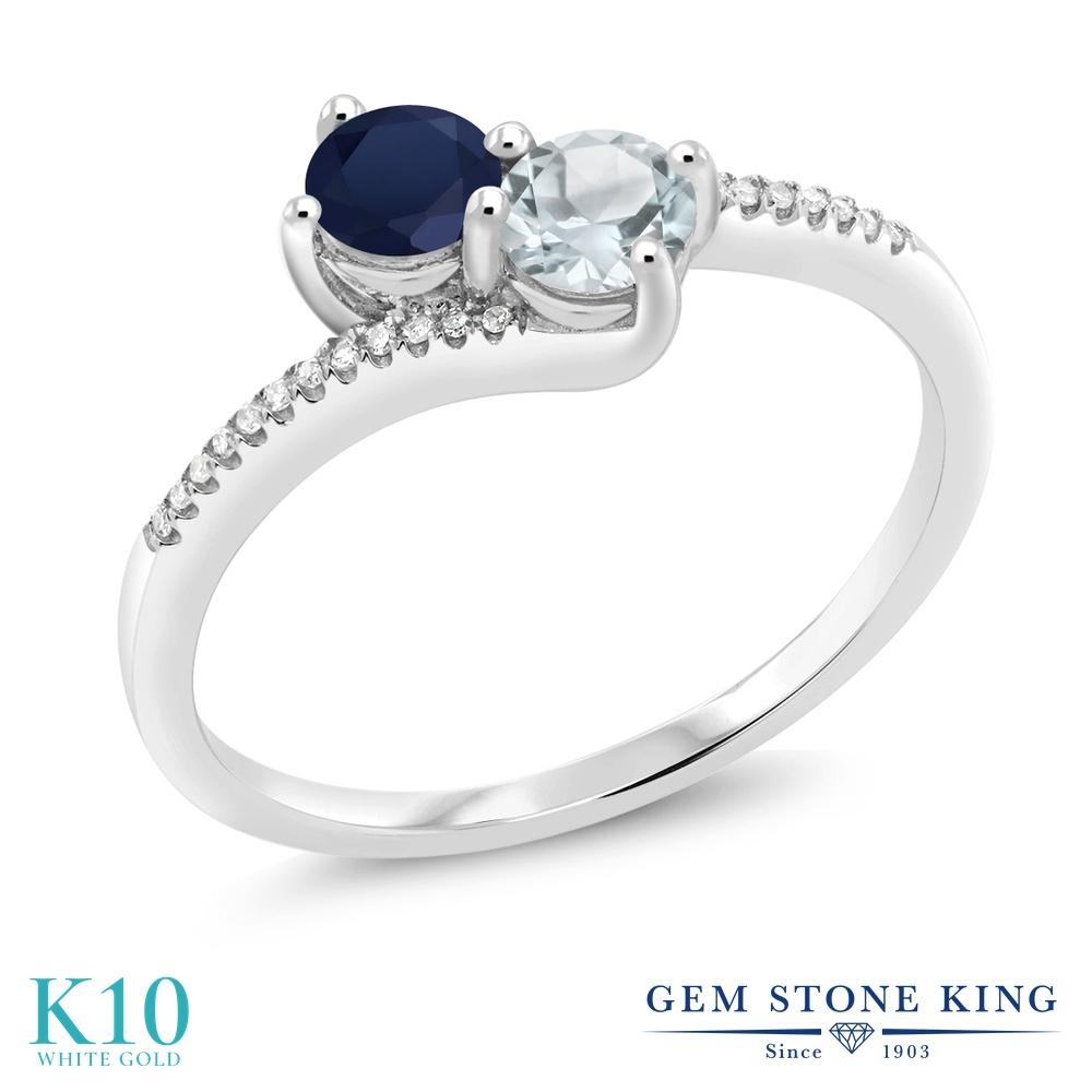 Gem Stone King 0.75カラット 天然 サファイア 天然 アクアマリン 天然 ダイヤモンド 10金 ホワイトゴールド(K10) 指輪 リング レディース 小粒 ダブルストーン 天然石 9月 誕生石 金属アレルギー対応 誕生日プレゼント