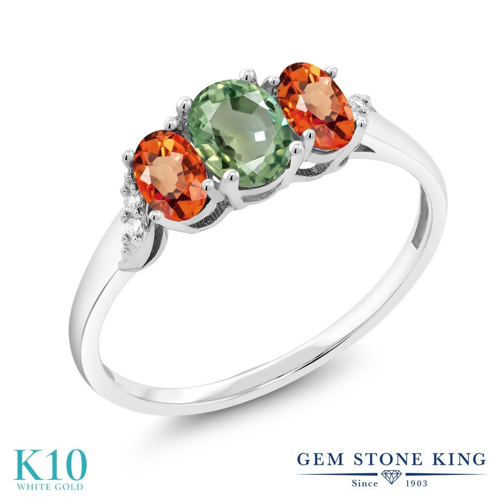 【10%OFF】 Gem Stone King 1.12カラット 天然 グリーンサファイア オレンジサファイア ダイヤモンド 指輪 リング レディース 10金 ホワイトゴールド K10 スリーストーン 天然石 9月 誕生石 クリスマスプレゼント 女性 彼女 妻 誕生日