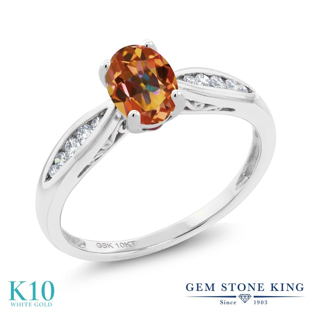Gem Stone King 0.87カラット 天然石 エクスタシーミスティックトパーズ 天然 ダイヤモンド 10金 ホワイトゴールド(K10) 指輪 リング レディース マルチストーン 天然石 金属アレルギー対応 婚約指輪 エンゲージリング