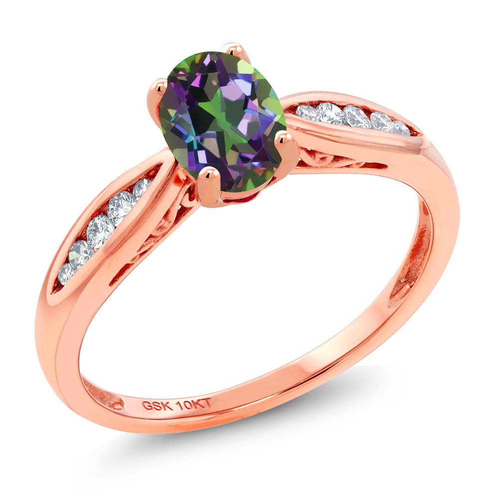 Gem Stone King 0.87カラット 天然石 ミスティックトパーズ (グリーン) 天然 ダイヤモンド 10金 ピンクゴールド(K10) 指輪 リング レディース マルチストーン 天然石 金属アレルギー対応 婚約指輪 エンゲージリング