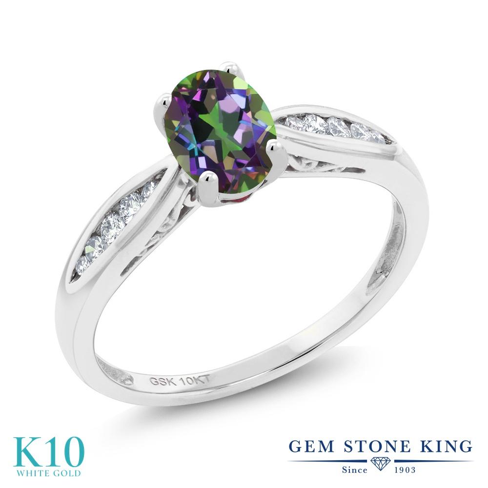Gem Stone King 0.87カラット 天然石 ミスティックトパーズ (グリーン) 天然 ダイヤモンド 10金 ホワイトゴールド(K10) 指輪 リング レディース マルチストーン 天然石 金属アレルギー対応 婚約指輪 エンゲージリング