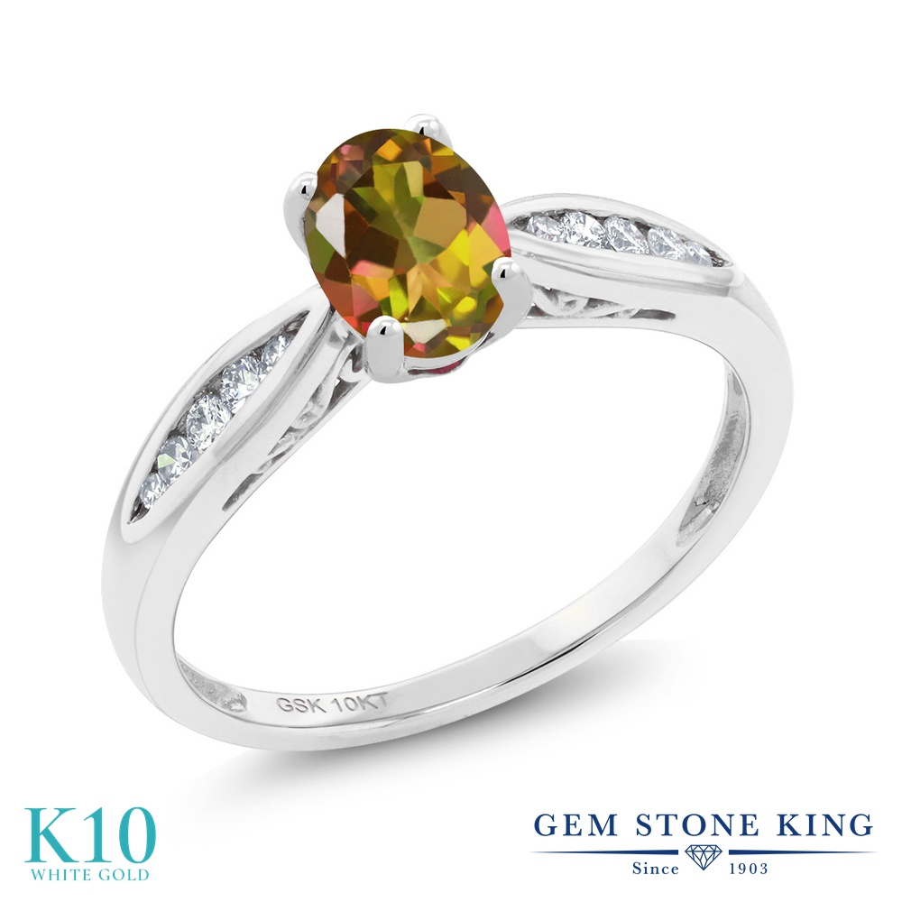 Gem Stone King 0.87カラット 天然石 ミスティックトパーズ (マンゴーオレンジ) 天然 ダイヤモンド 10金 ホワイトゴールド(K10) 指輪 リング レディース マルチストーン 天然石 金属アレルギー対応 婚約指輪 エンゲージリング