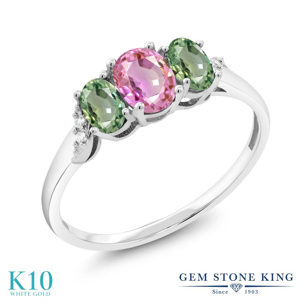 Gem Stone King 1.12カラット 天然 ピンクサファイア 天然 グリーンサファイア 天然 ダイヤモンド 10金 ホワイトゴールド(K10) 指輪 リング レディース スリーストーン 天然石 9月 誕生石 金属アレルギー対応 誕生日プレゼント
