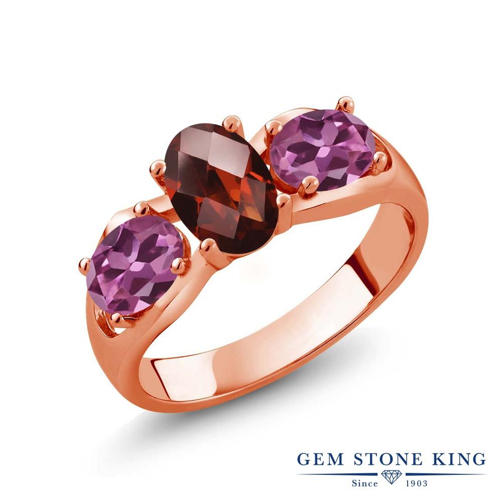 Gem Stone King 1.8カラット 天然 ガーネット ピンクトルマリン 指輪 リング レディース シルバー925 ピンクゴールド 加工 シンプル スリーストーン 天然石 1月 誕生石 金属アレルギー対応