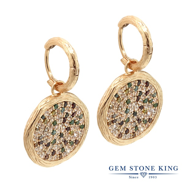 Gem Stone King 2.46カラット 天然 トパーズ (無色透明) シルバー925(純銀) ピアス レディース マルチカラー ダイヤ 小粒 ぶら下がり 天然石 4月 誕生石 金属アレルギー対応 誕生日プレゼント