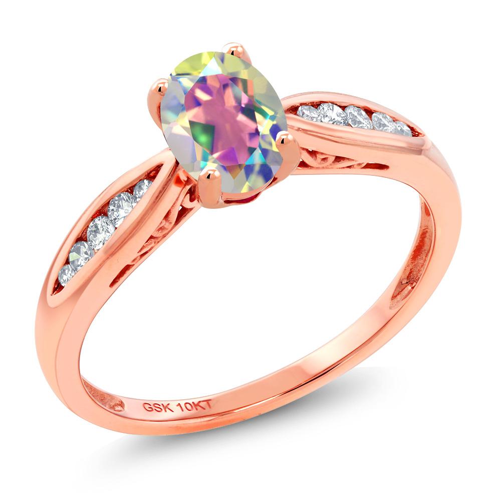 Gem Stone King 0.87カラット 天然石 ミスティックトパーズ (マーキュリーミスト) 天然 ダイヤモンド 10金 ピンクゴールド(K10) 指輪 リング レディース マルチストーン 天然石 金属アレルギー対応 婚約指輪 エンゲージリング