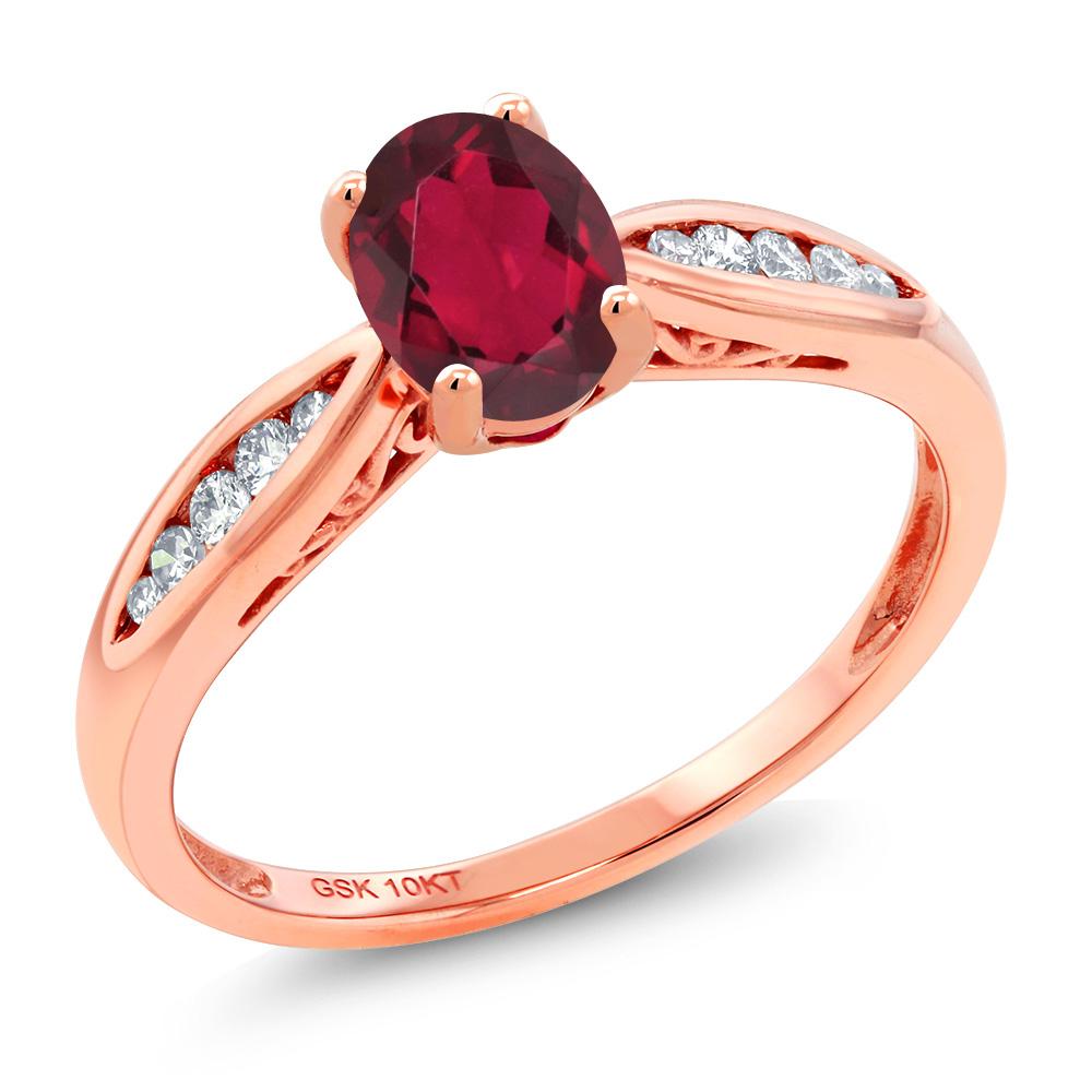 Gem Stone King 0.87カラット 天然 ミスティックトパーズ (ルビーレッド) 天然 ダイヤモンド 10金 ピンクゴールド(K10) 指輪 リング レディース マルチストーン 天然石 金属アレルギー対応 婚約指輪 エンゲージリング
