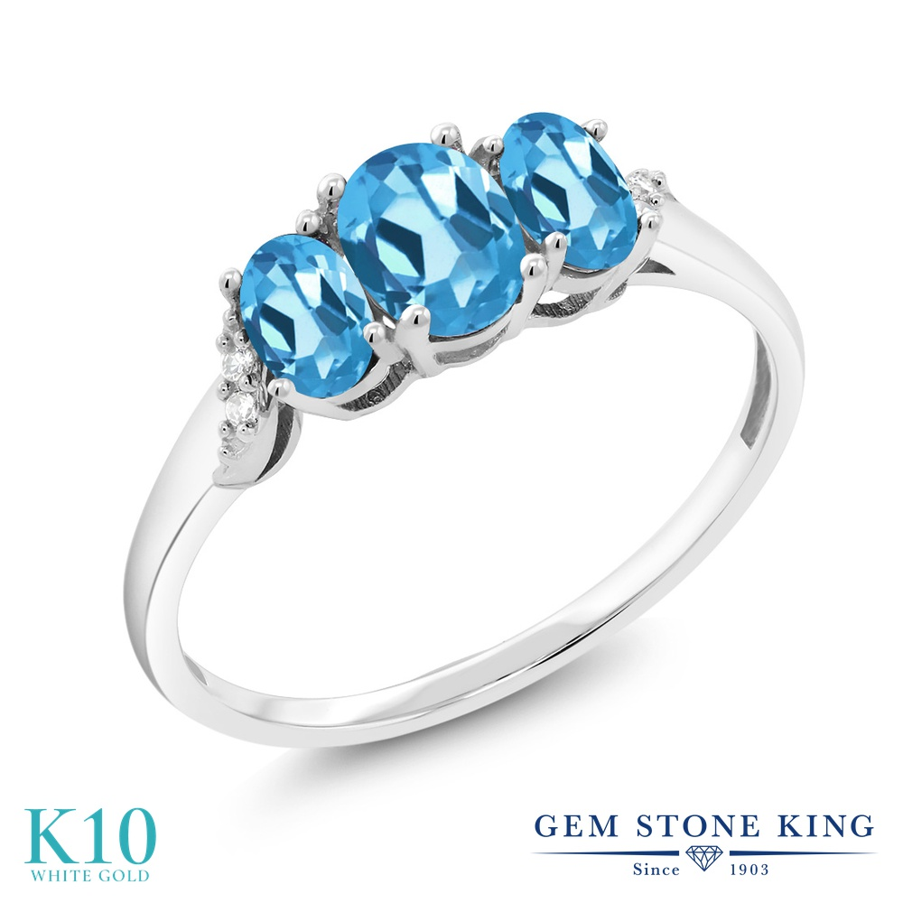 Gem Stone King 1.13カラット 天然 スイスブルートパーズ 天然 ダイヤモンド 10金 ホワイトゴールド(K10) 指輪 リング レディース 小粒 スリーストーン 天然石 11月 誕生石 金属アレルギー対応 誕生日プレゼント