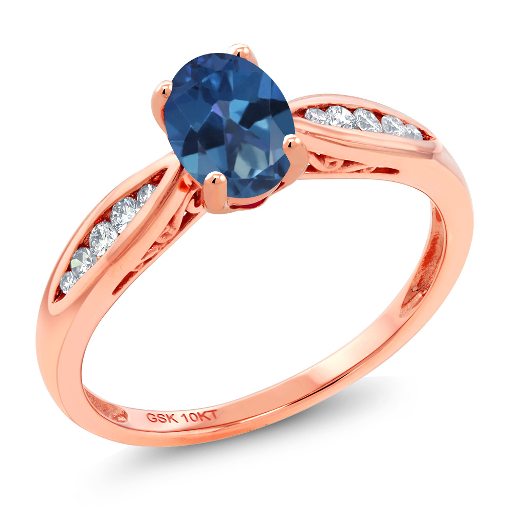 Gem Stone King 0.87カラット 天然 ミスティックトパーズ (サファイアブルー) 天然 ダイヤモンド 10金 ピンクゴールド(K10) 指輪 リング レディース マルチストーン 天然石 金属アレルギー対応 婚約指輪 エンゲージリング