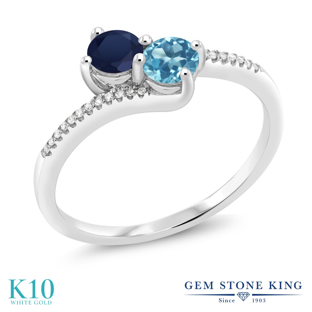 Gem Stone King 0.86カラット 天然 サファイア 天然 スイスブルートパーズ 天然 ダイヤモンド 10金 ホワイトゴールド(K10) 指輪 リング レディース 小粒 ダブルストーン 天然石 9月 誕生石 金属アレルギー対応 誕生日プレゼント
