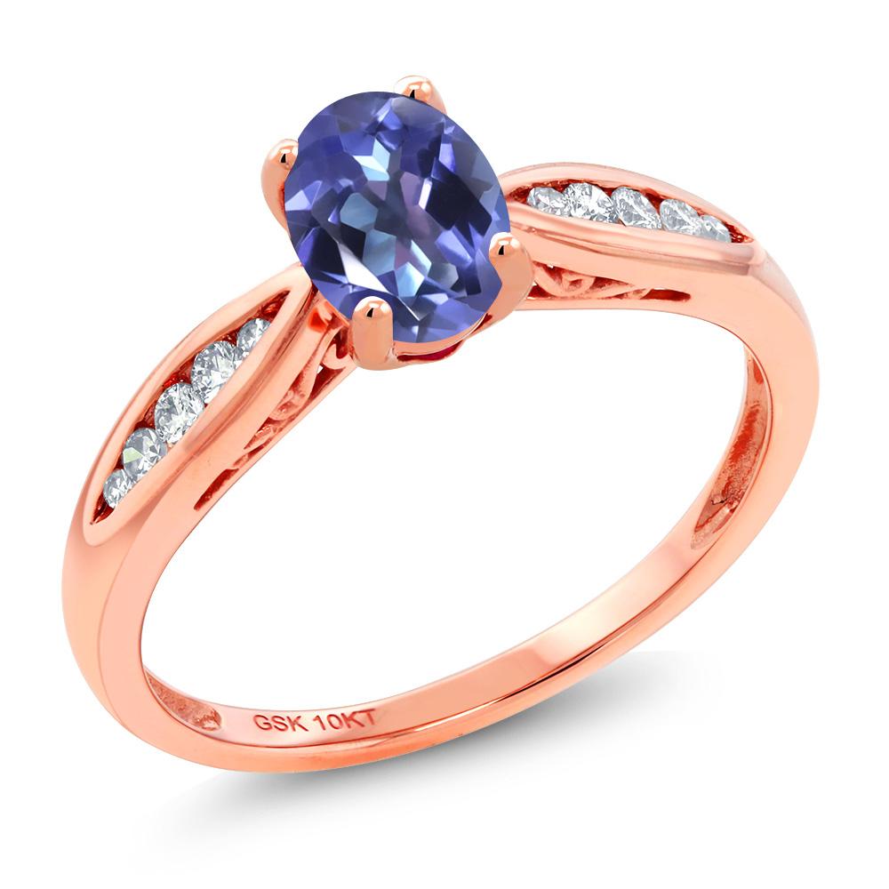 Gem Stone King 0.87カラット 天然 ミスティックトパーズ (タンザナイトブルー) 天然 ダイヤモンド 10金 ピンクゴールド(K10) 指輪 リング レディース マルチストーン 天然石 金属アレルギー対応 婚約指輪 エンゲージリング