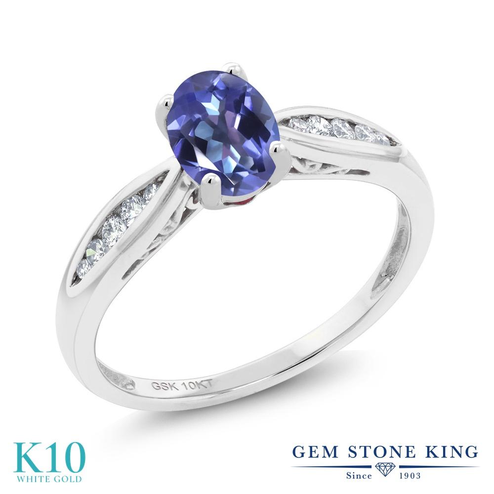 Gem Stone King 0.87カラット 天然 ミスティックトパーズ (タンザナイトブルー) 天然 ダイヤモンド 10金 ホワイトゴールド(K10) 指輪 リング レディース マルチストーン 天然石 金属アレルギー対応 婚約指輪 エンゲージリング