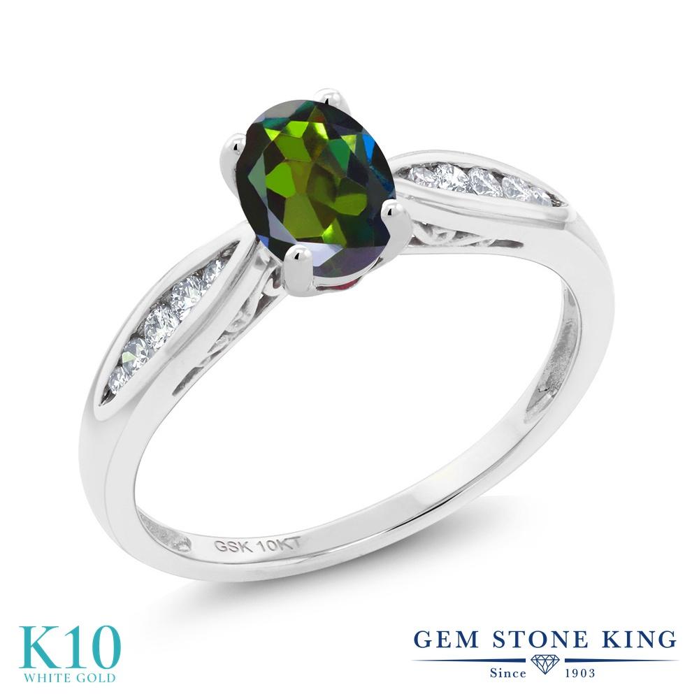 Gem Stone King 0.87カラット 天然 ミスティックトパーズ (トルマリングリーン) 天然 ダイヤモンド 10金 ホワイトゴールド(K10) 指輪 リング レディース マルチストーン 天然石 金属アレルギー対応 婚約指輪 エンゲージリング