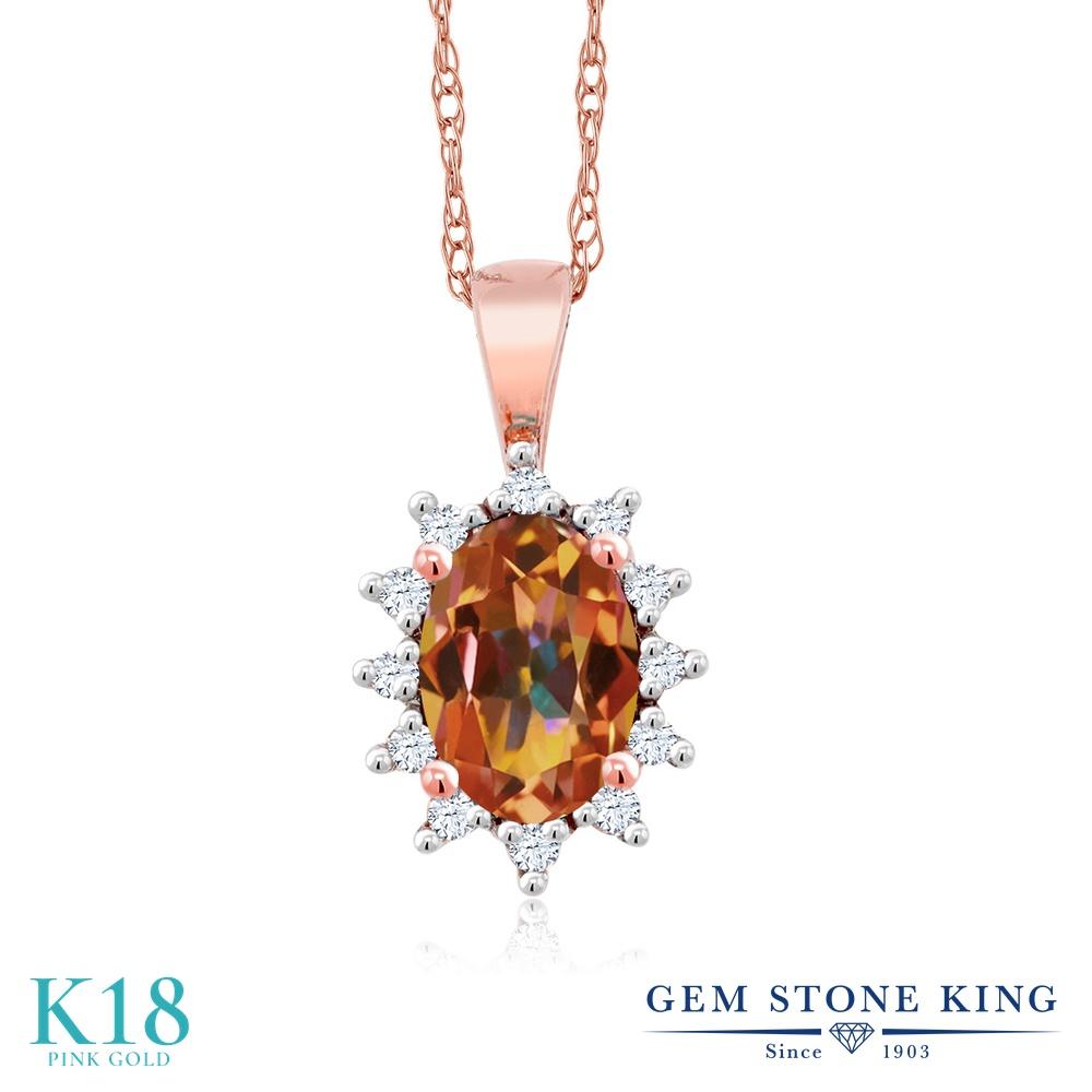 Gem Stone King 0.58カラット 天然石 エクスタシーミスティックトパーズ 天然 ダイヤモンド 18金 ピンクゴールド(K18) ネックレス ペンダント レディース 小粒 天然石 金属アレルギー対応 誕生日プレゼント