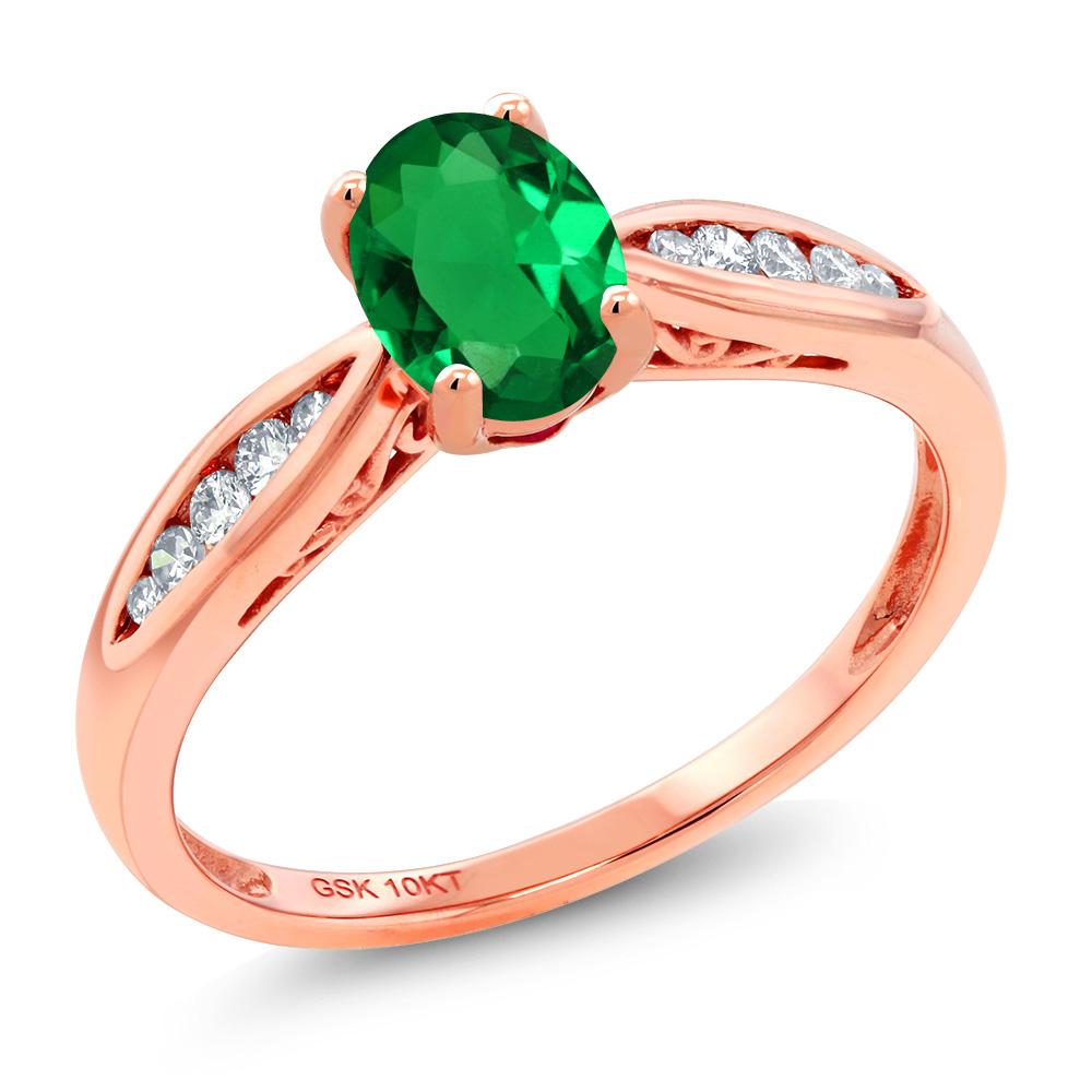 Gem Stone King 0.67カラット ナノエメラルド 天然 ダイヤモンド 10金 ピンクゴールド(K10) 指輪 リング レディース マルチストーン 金属アレルギー対応 婚約指輪 エンゲージリング