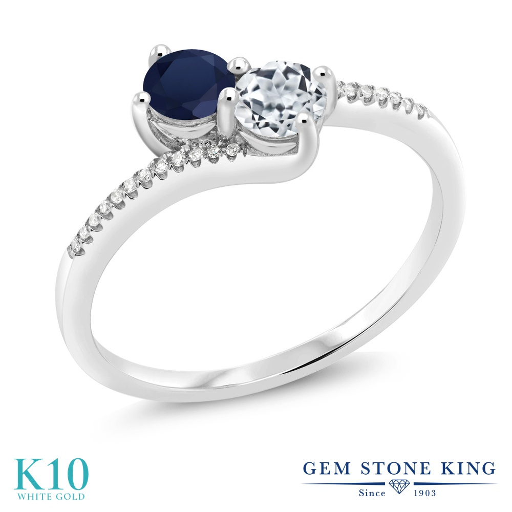 Gem Stone King 0.86カラット 天然 サファイア 天然 トパーズ (無色透明) 天然 ダイヤモンド 10金 ホワイトゴールド(K10) 指輪 リング レディース 小粒 ダブルストーン 天然石 9月 誕生石 金属アレルギー対応 誕生日プレゼント