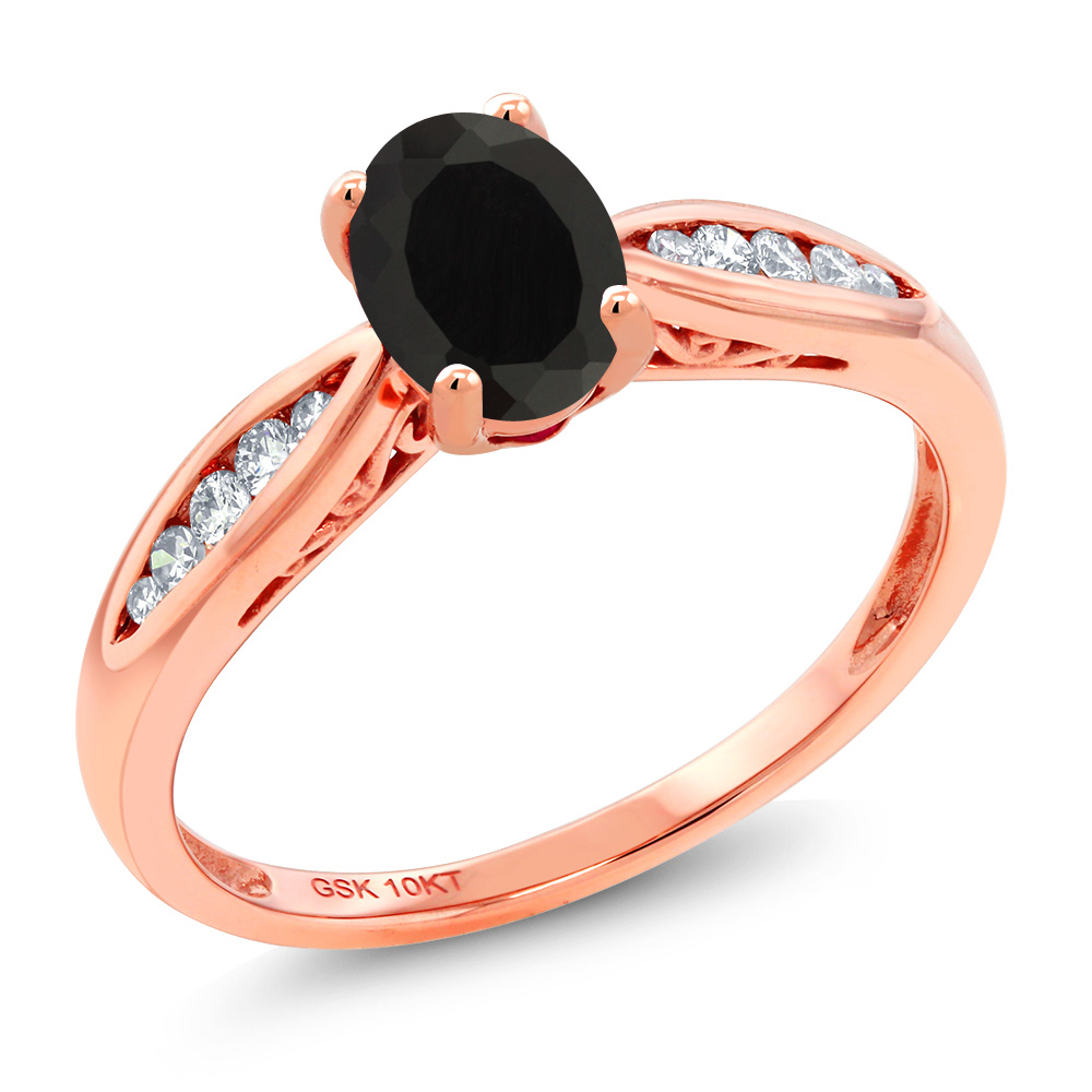Gem Stone King 0.87カラット 天然 オニキス 天然 ダイヤモンド 10金 ピンクゴールド(K10) 指輪 リング レディース マルチストーン 天然石 8月 誕生石 金属アレルギー対応 婚約指輪 エンゲージリング