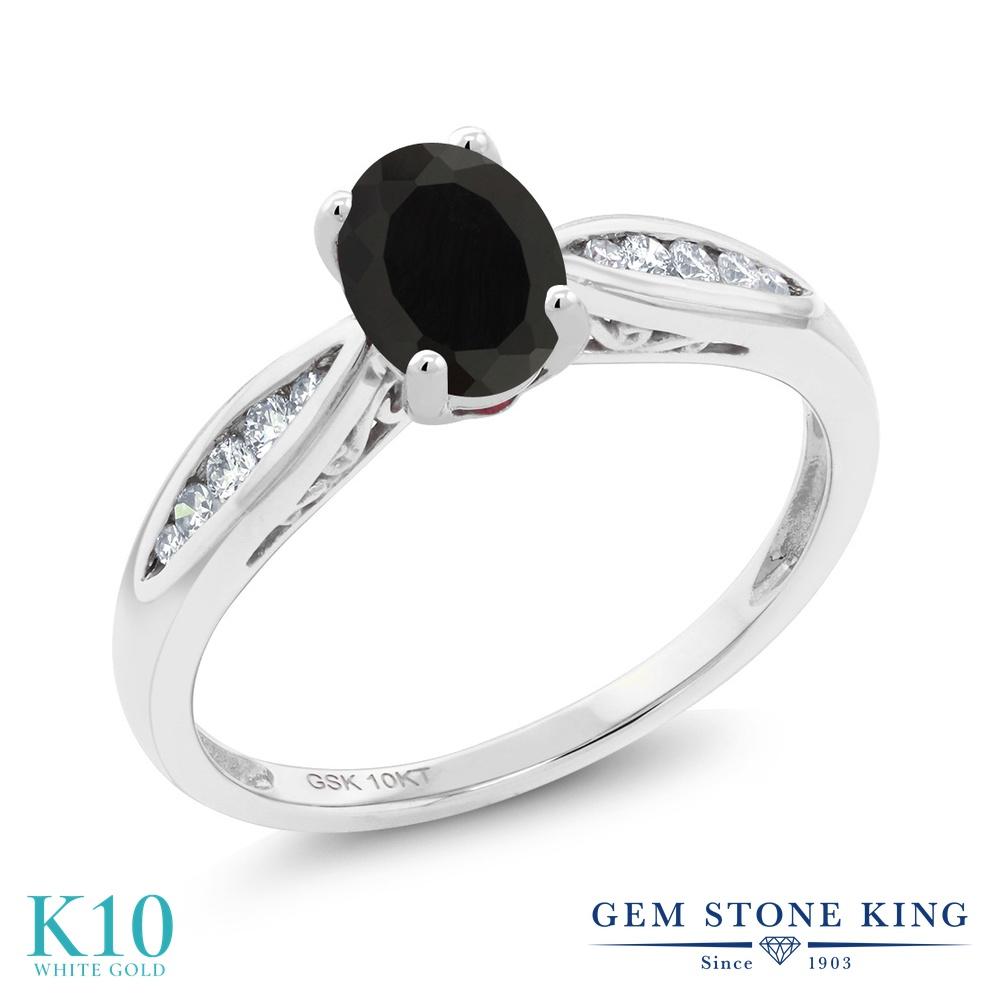 Gem Stone King 0.87カラット 天然 オニキス 天然 ダイヤモンド 10金 ホワイトゴールド(K10) 指輪 リング レディース マルチストーン 天然石 8月 誕生石 金属アレルギー対応 婚約指輪 エンゲージリング