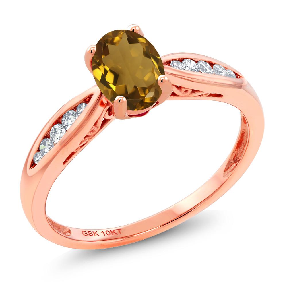 Gem Stone King 0.77カラット 天然石 ウィスキークォーツ 天然 ダイヤモンド 10金 ピンクゴールド(K10) 指輪 リング レディース マルチストーン 天然石 金属アレルギー対応 婚約指輪 エンゲージリング