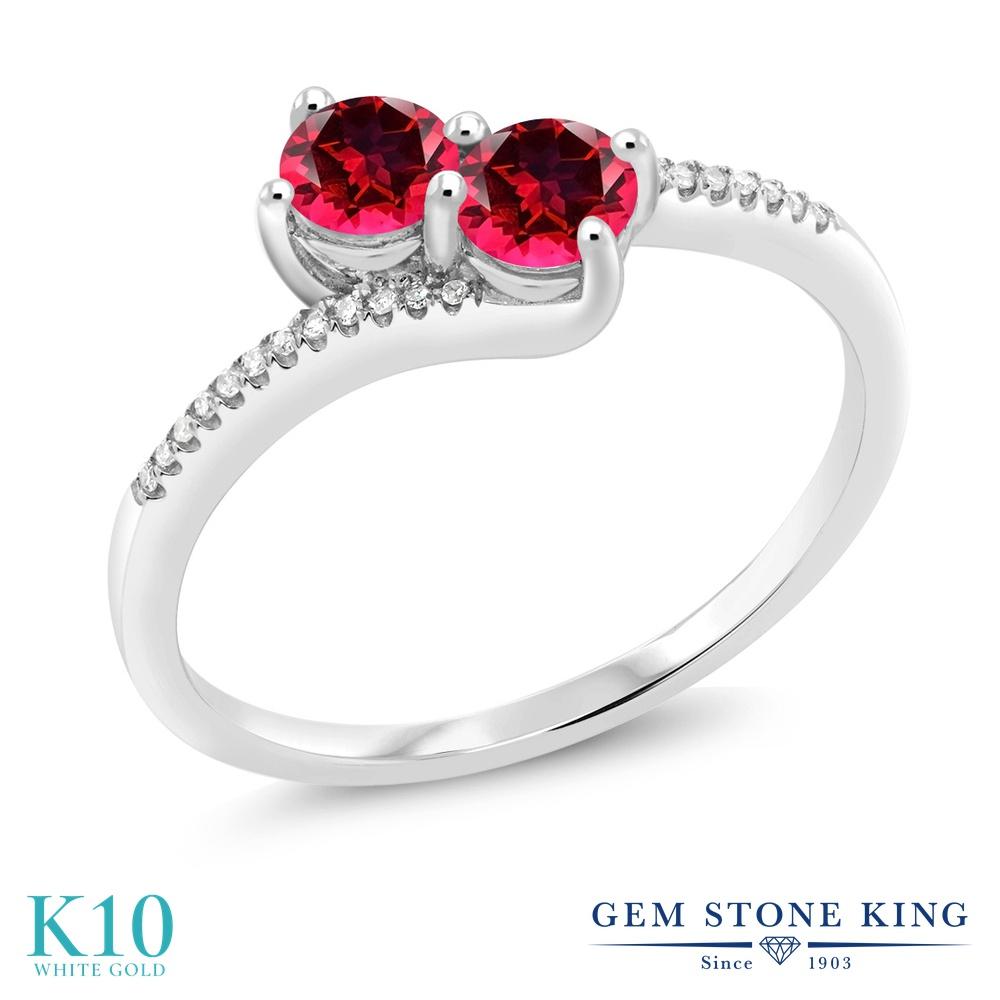 Gem Stone King 0.77カラット 天然石 レッドトパーズ (スワロフスキー 天然石シリーズ) 天然 ダイヤモンド 10金 ホワイトゴールド(K10) 指輪 リング レディース 小粒 ダブルストーン 天然石 金属アレルギー対応 誕生日プレゼント