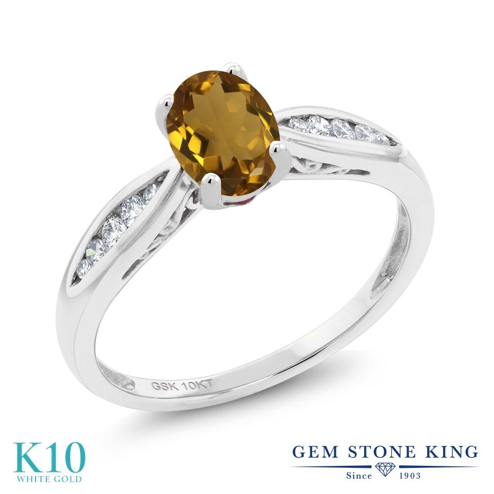 Gem Stone King 0.77カラット 天然石 ウィスキークォーツ 天然 ダイヤモンド 10金 ホワイトゴールド(K10) 指輪 リング レディース マルチストーン 天然石 金属アレルギー対応 婚約指輪 エンゲージリング