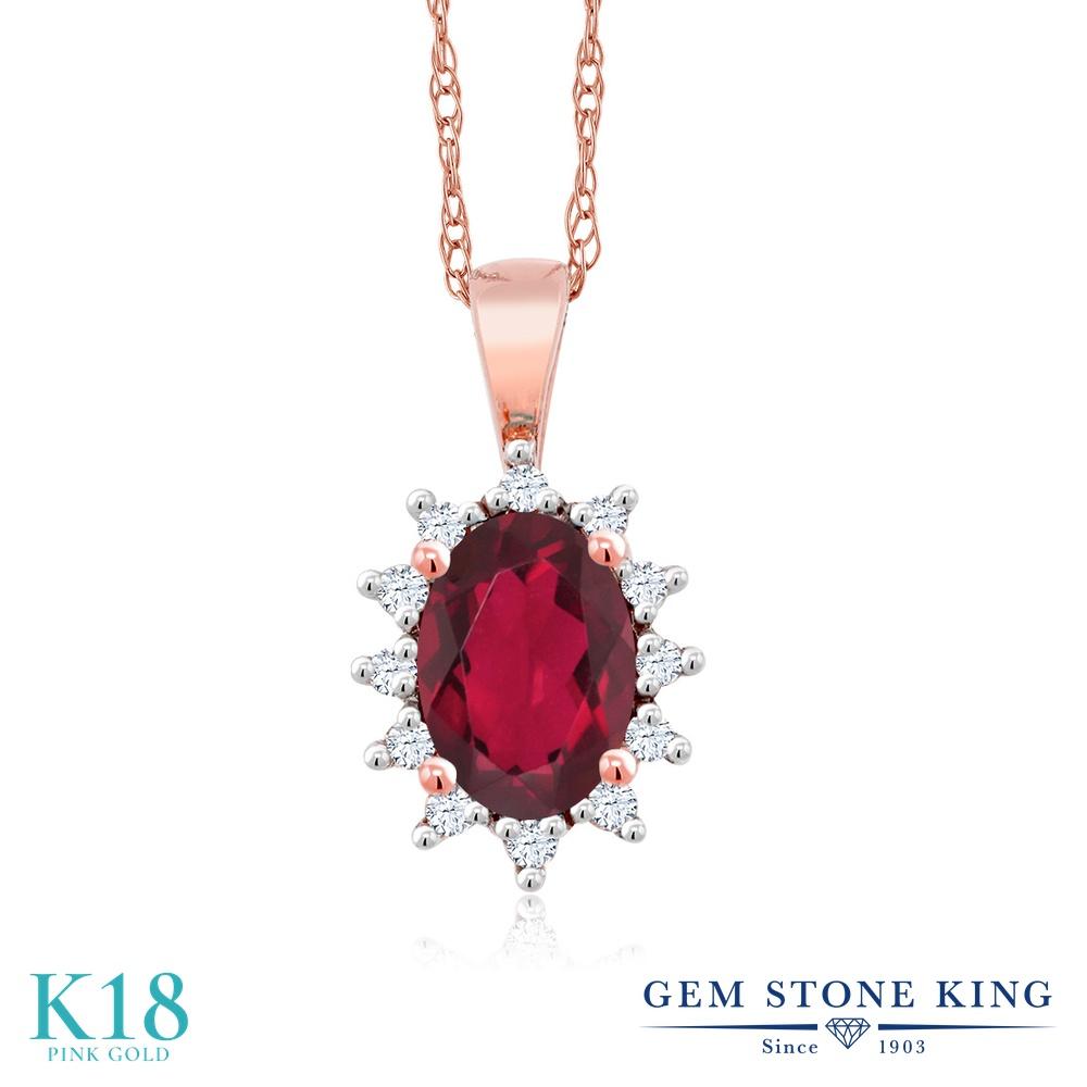 Gem Stone King 0.58カラット 天然 ミスティックトパーズ (ルビーレッド) 天然 ダイヤモンド 18金 ピンクゴールド(K18) ネックレス ペンダント レディース 小粒 天然石 金属アレルギー対応 誕生日プレゼント