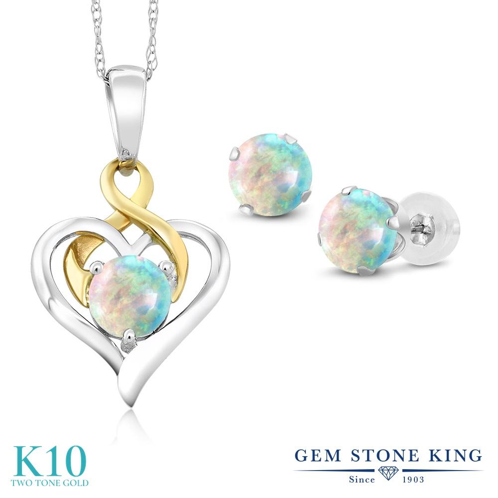 Gem Stone King 2カラット シミュレイテッド ホワイトオパール 10金 Two Toneゴールド(K10) ペンダント&ピアスセット レディース 小粒 シンプル 10月 誕生石 金属アレルギー対応 誕生日プレゼント