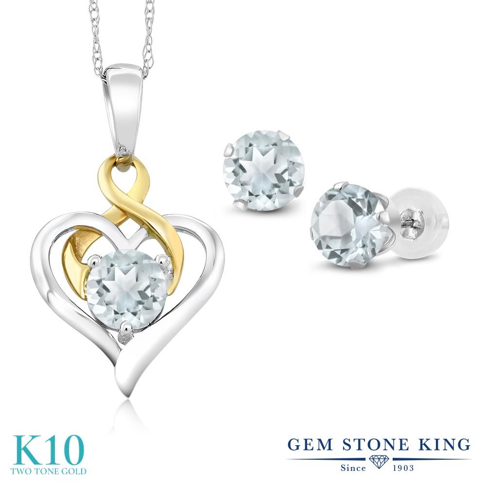 Gem Stone King 1.9カラット 天然 アクアマリン 10金 Two Toneゴールド(K10) ペンダント&ピアスセット レディース 小粒 シンプル 天然石 3月 誕生石 金属アレルギー対応 誕生日プレゼント
