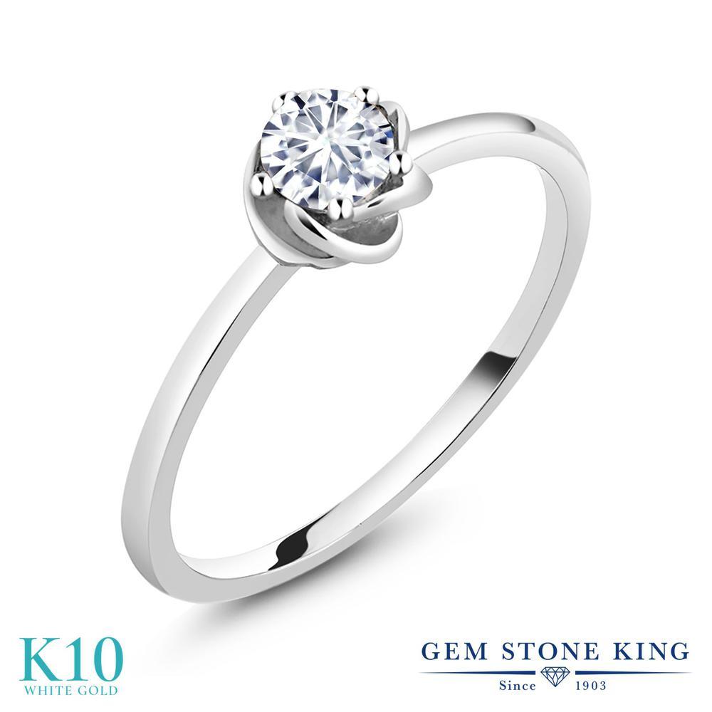 【10%OFF】 Gem Stone King 0.5カラット Forever Brilliant モアサナイト Charles & Colvard 指輪 リング レディース 10金 ホワイトゴールド K10 モアッサナイト 小粒 一粒 シンプル ソリティア クリスマスプレゼント 女性 彼女 妻 誕生日