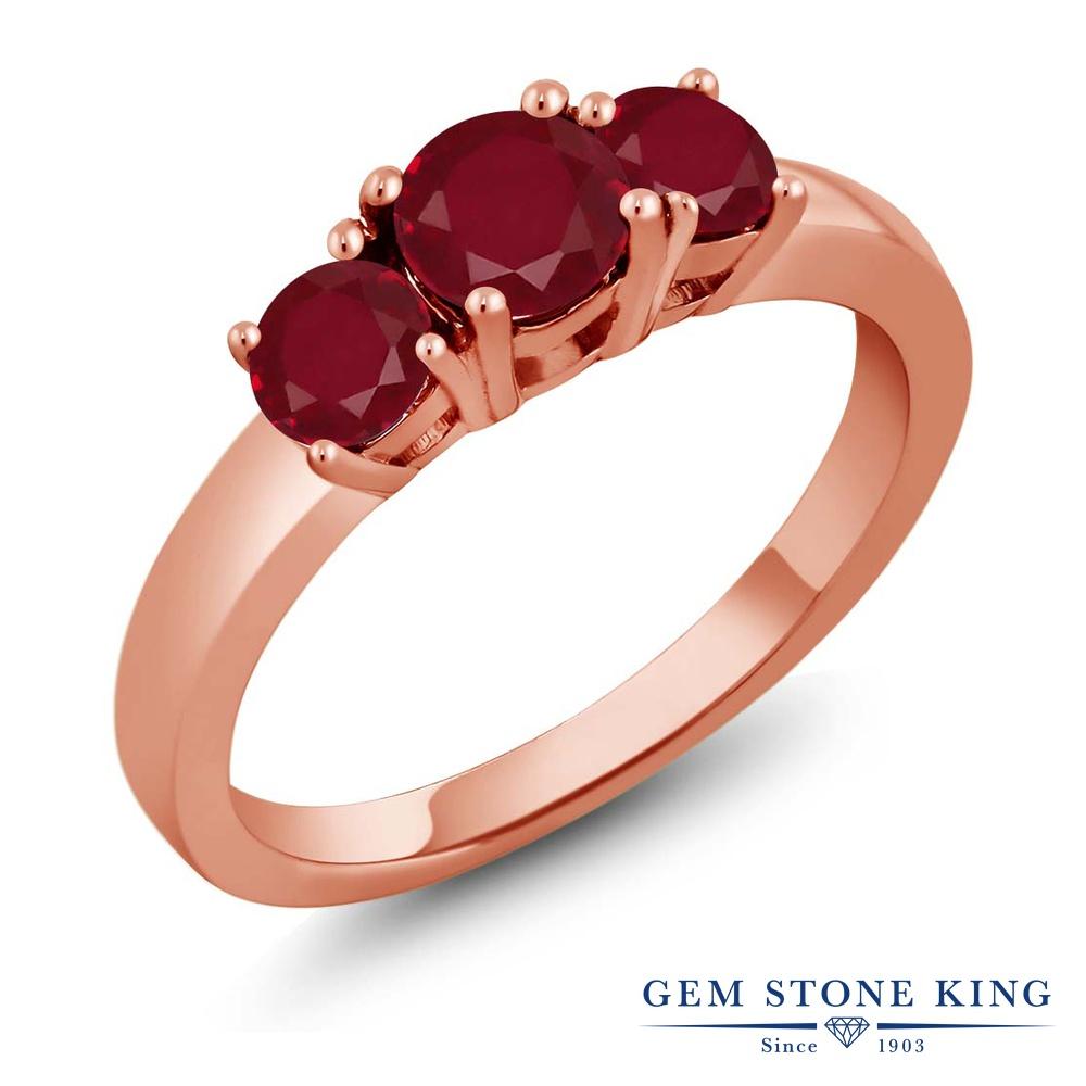 【10%OFF】 Gem Stone King 1.25カラット 天然 ルビー 指輪 リング レディース シルバー925 ピンクゴールド 加工 スリーストーン シンプル 天然石 7月 誕生石 クリスマスプレゼント 女性 彼女 妻 誕生日