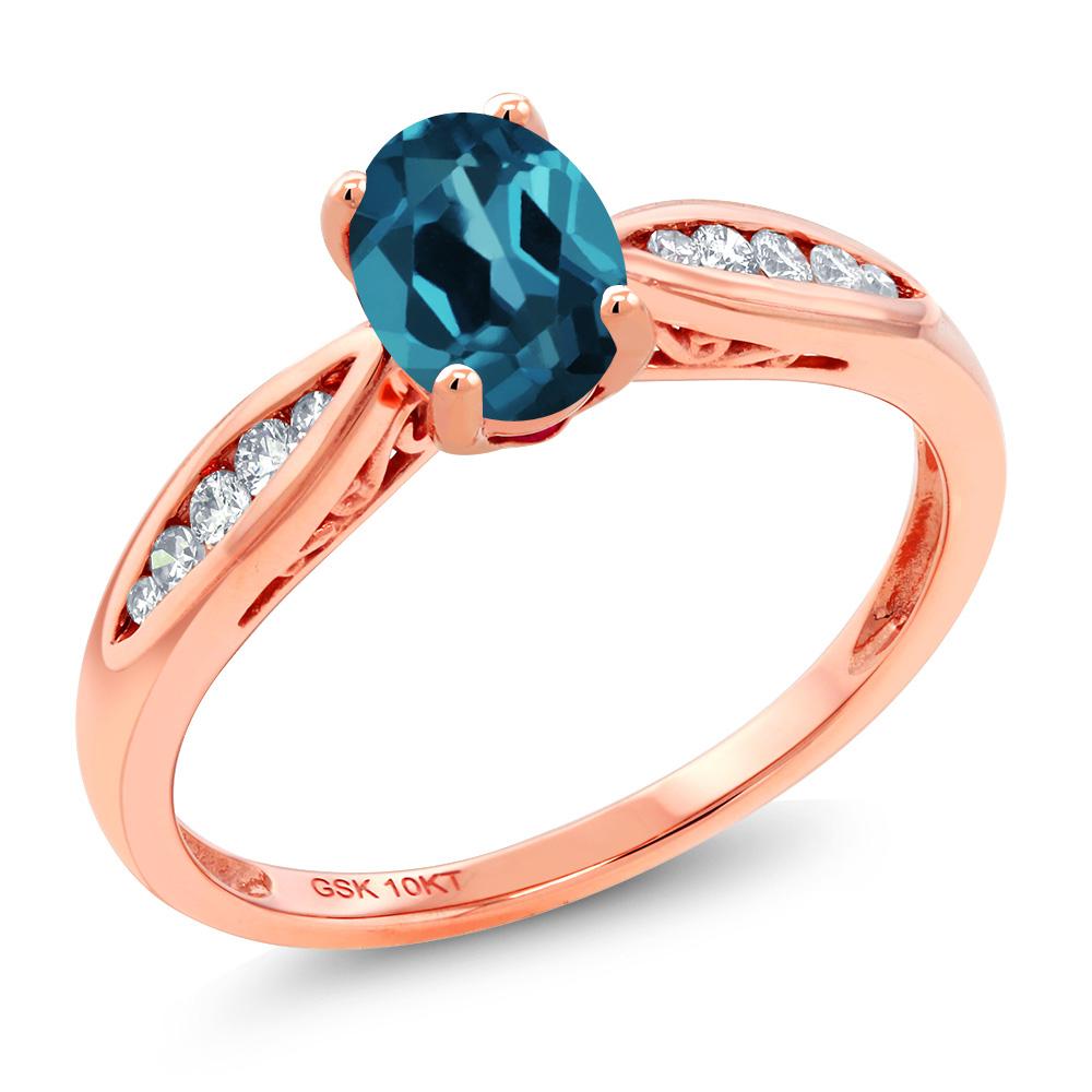 Gem Stone King 0.97カラット 天然 ロンドンブルートパーズ 天然 ダイヤモンド 10金 ピンクゴールド(K10) 指輪 リング レディース マルチストーン 天然石 11月 誕生石 金属アレルギー対応 婚約指輪 エンゲージリング