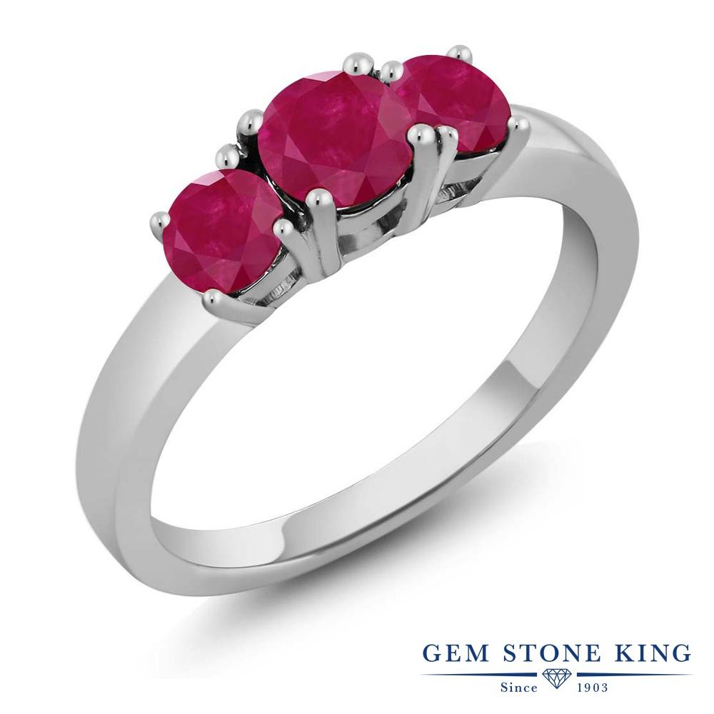 【10%OFF】 Gem Stone King 1.25カラット 天然 ルビー 指輪 リング レディース シルバー925 スリーストーン シンプル 天然石 7月 誕生石 クリスマスプレゼント 女性 彼女 妻 誕生日