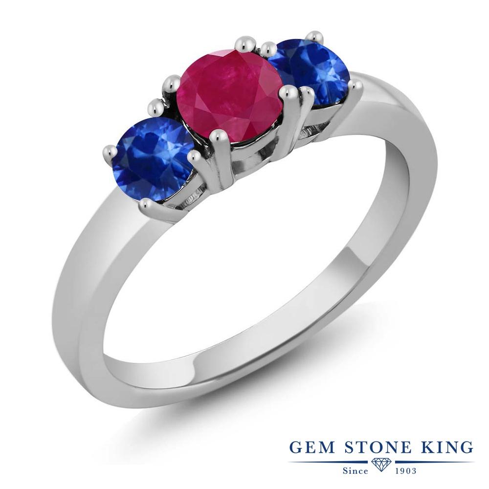 【10%OFF】 Gem Stone King 1.25カラット 天然 ルビー サファイア 指輪 リング レディース シルバー925 シンプル スリーストーン 天然石 7月 誕生石 クリスマスプレゼント 女性 彼女 妻 誕生日