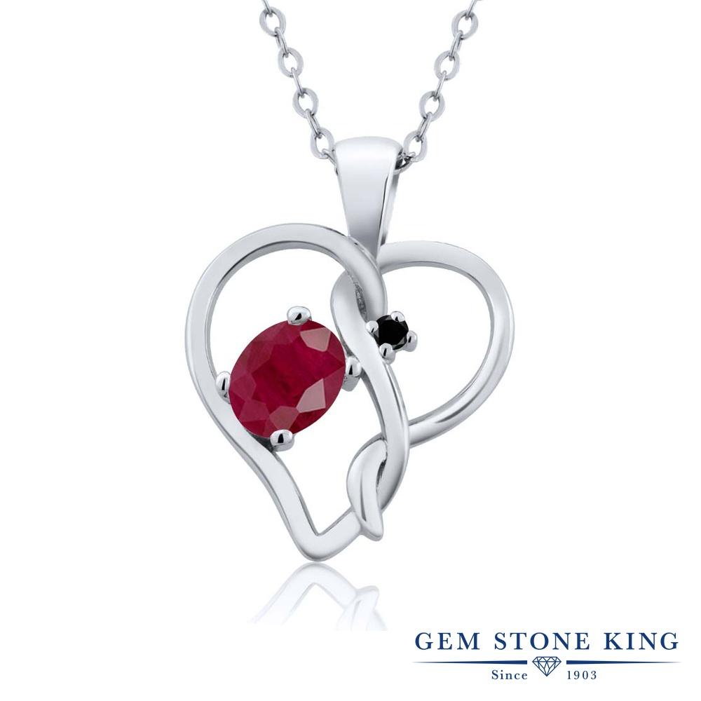 Gem Stone King 0.61カラット 天然ルビー シルバー925 天然ブラックダイヤモンド ネックレス ペンダント レディース シンプル 天然石 誕生石 誕生日プレゼント