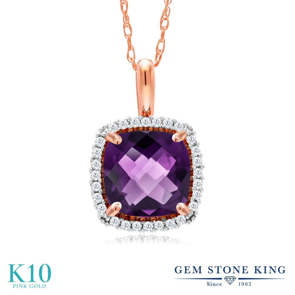 Gem Stone King 1.3カラット 天然 アメジスト 天然 ダイヤモンド 10金 ピンクゴールド(K10) ネックレス ペンダント レディース 大粒 天然石 2月 誕生石 金属アレルギー対応 誕生日プレゼント