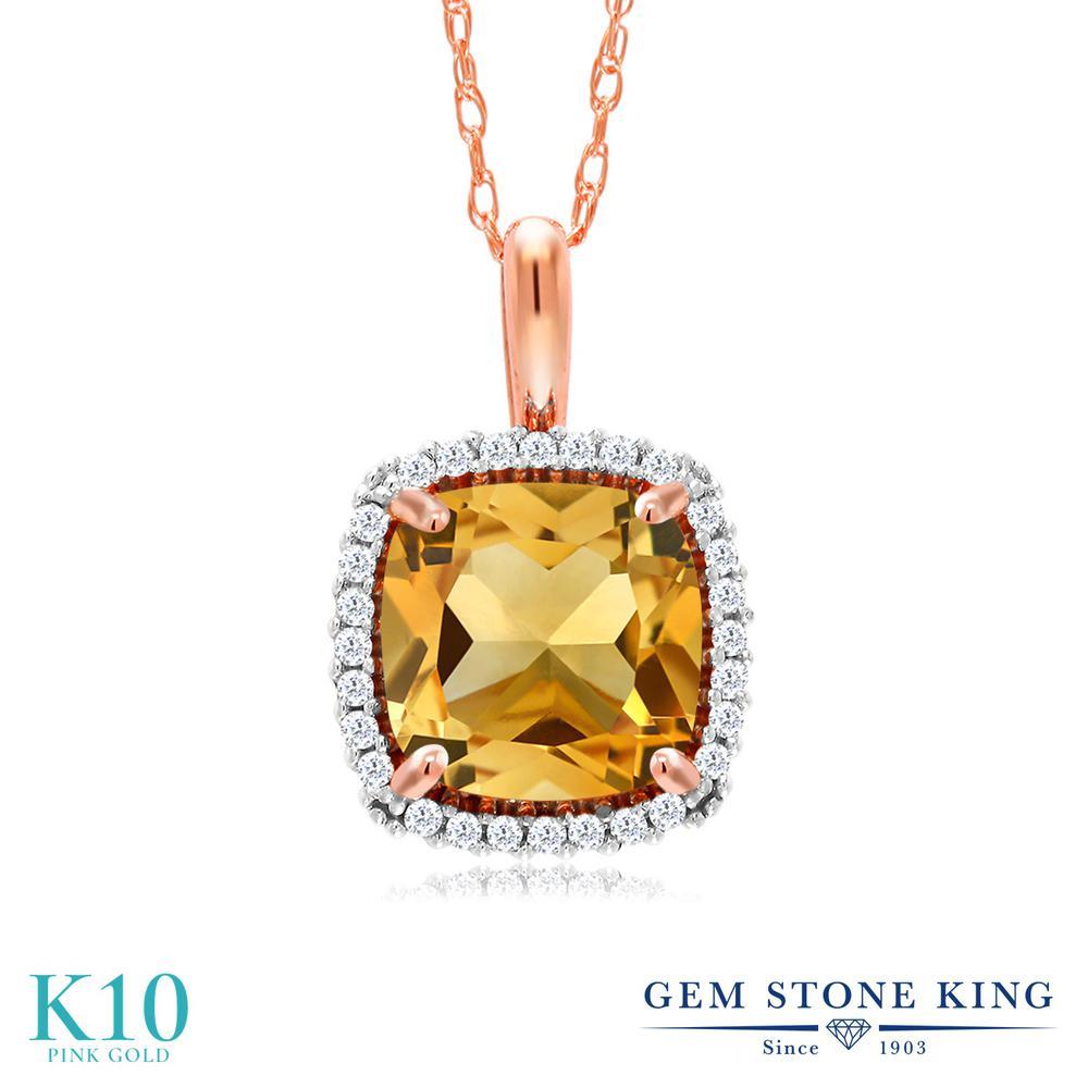 Gem Stone King 1.6カラット 天然 シトリン 天然 ダイヤモンド 10金 ピンクゴールド(K10) ネックレス ペンダント レディース 大粒 天然石 11月 誕生石 金属アレルギー対応 誕生日プレゼント