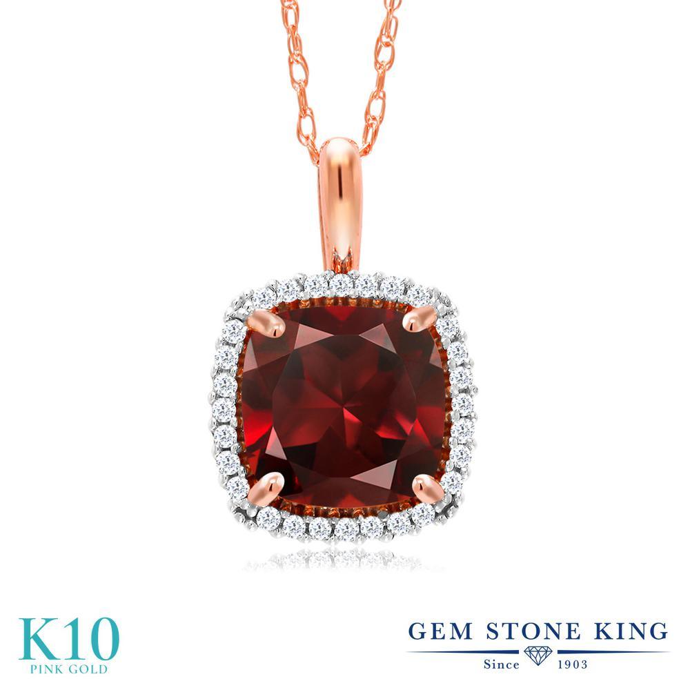 Gem Stone King 2.05カラット 天然 ガーネット 天然 ダイヤモンド 10金 ピンクゴールド(K10) ネックレス ペンダント レディース 大粒 天然石 1月 誕生石 金属アレルギー対応 誕生日プレゼント