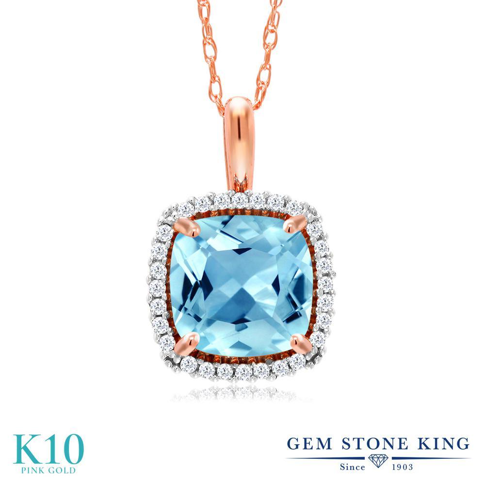 Gem Stone King 2.05カラット 天然 スイスブルートパーズ 天然 ダイヤモンド 10金 ピンクゴールド(K10) ネックレス ペンダント レディース 大粒 天然石 11月 誕生石 金属アレルギー対応 誕生日プレゼント
