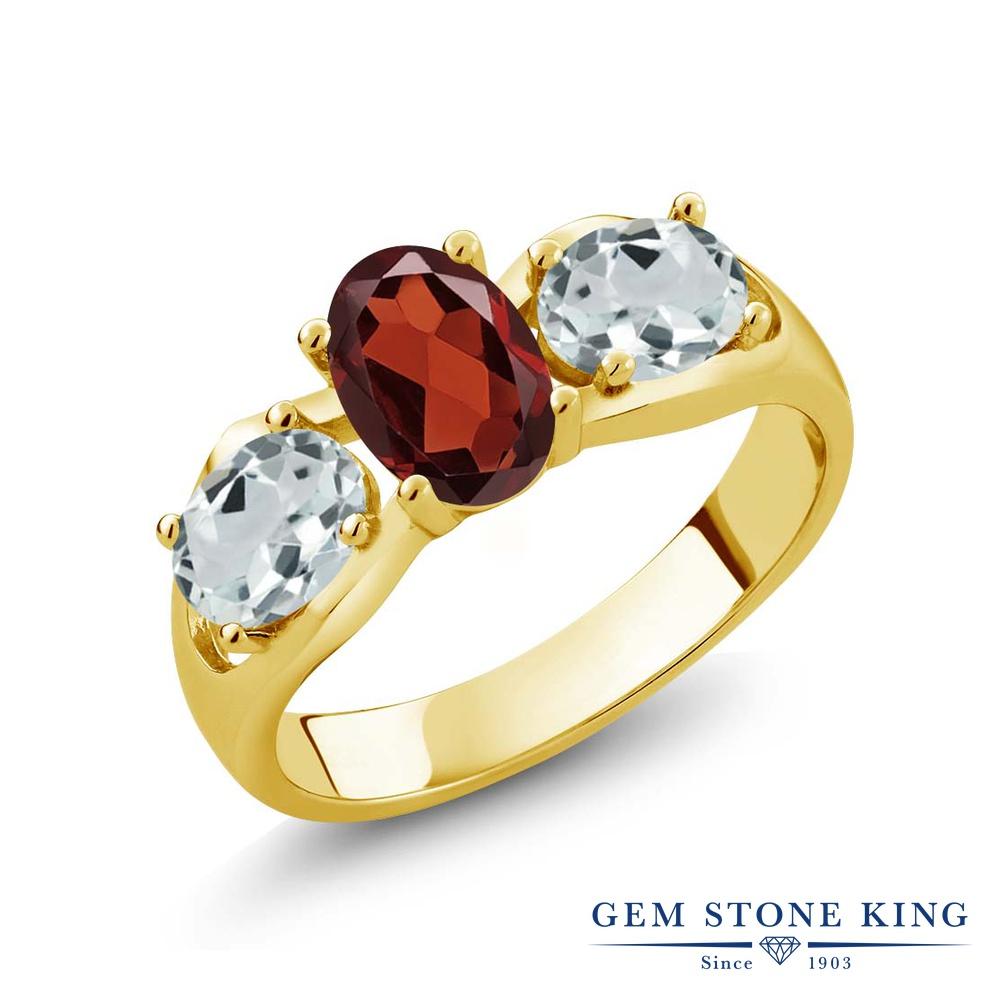 1.76カラット 天然 ガーネット 指輪 レディース リング アクアマリン イエローゴールド 加工 シルバー925 ブランド おしゃれ 3連 赤 シンプル スリーストーン 天然石 1月 誕生石 金属アレルギー対応