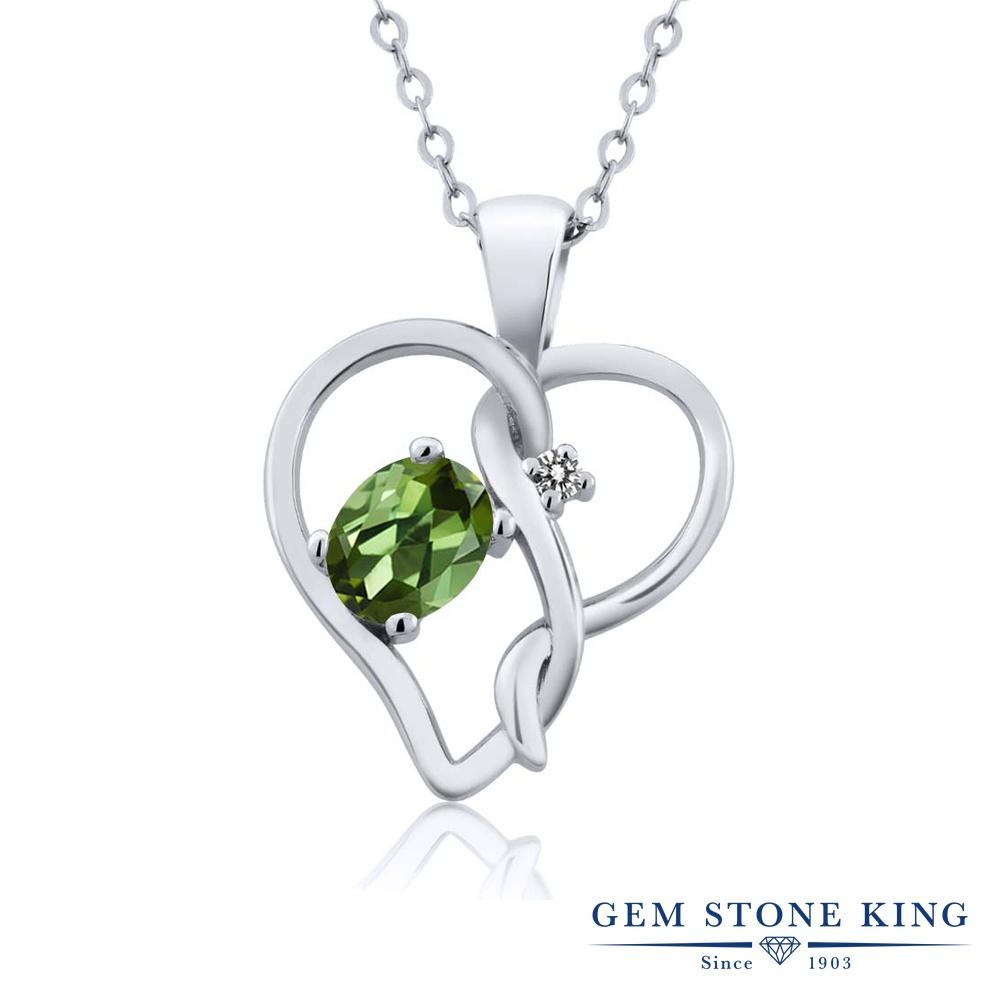 Gem Stone King 0.51カラット 天然トルマリン(グリーン) シルバー925 天然ダイヤモンド ネックレス ペンダント レディース 小粒 シンプル 天然石 誕生石 誕生日プレゼント