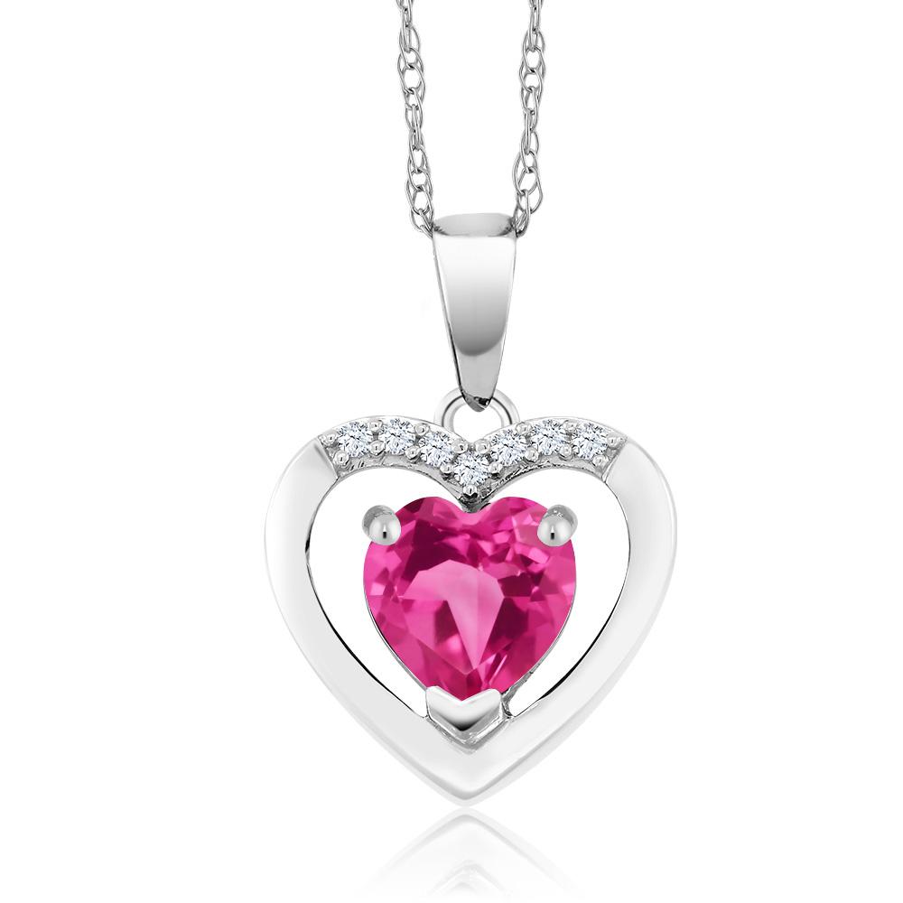 Gem Stone King 1カラット 天然 ミスティックトパーズ (ピンク) 天然 ダイヤモンド 10金 ホワイトゴールド(K10) ネックレス ペンダント レディース 天然石 金属アレルギー対応 誕生日プレゼント