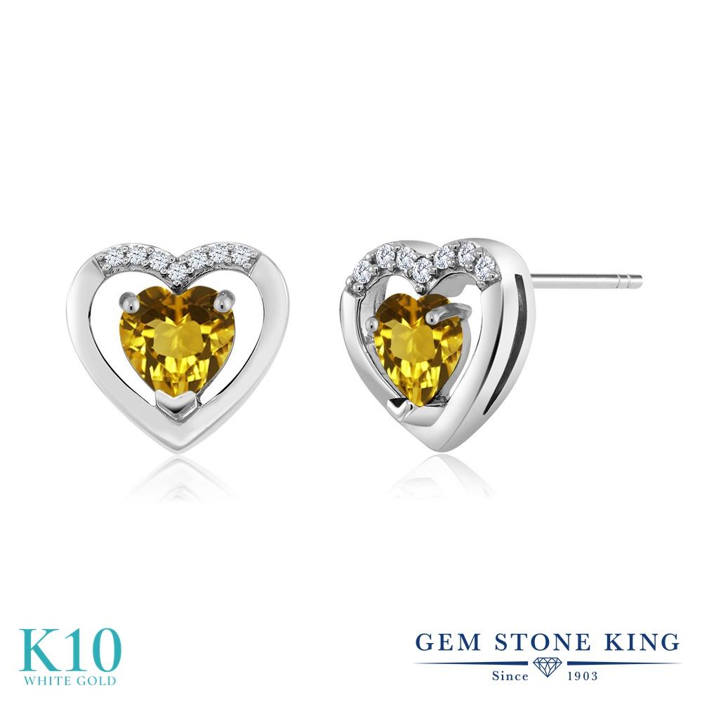 Gem Stone King 0.54カラット 天然 シトリン 天然 ダイヤモンド 10金 ホワイトゴールド(K10) ピアス レディース 小粒 スタッド 天然石 11月 誕生石 金属アレルギー対応 誕生日プレゼント