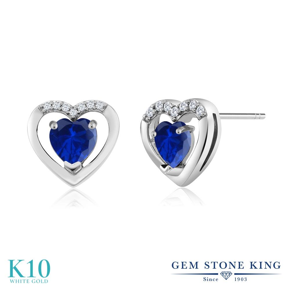 Gem Stone King 1.1カラット シミュレイテッド サファイア 天然 ダイヤモンド 10金 ホワイトゴールド(K10) ピアス レディース 小粒 スタッド 金属アレルギー対応 誕生日プレゼント