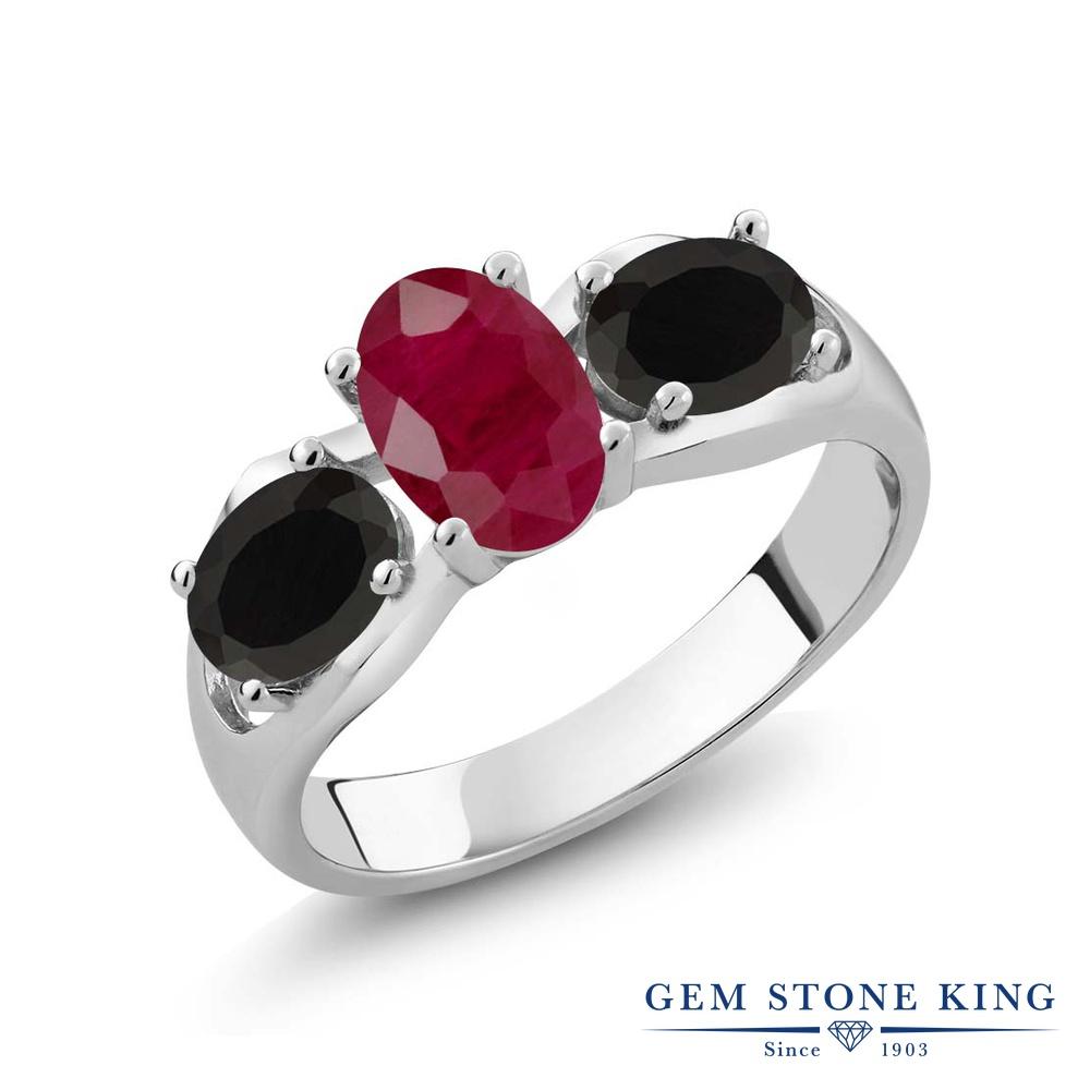 【10%OFF】 Gem Stone King 1.8カラット 天然 ルビー オニキス 指輪 リング レディース シルバー925 大粒 シンプル スリーストーン 天然石 7月 誕生石 クリスマスプレゼント 女性 彼女 妻 誕生日