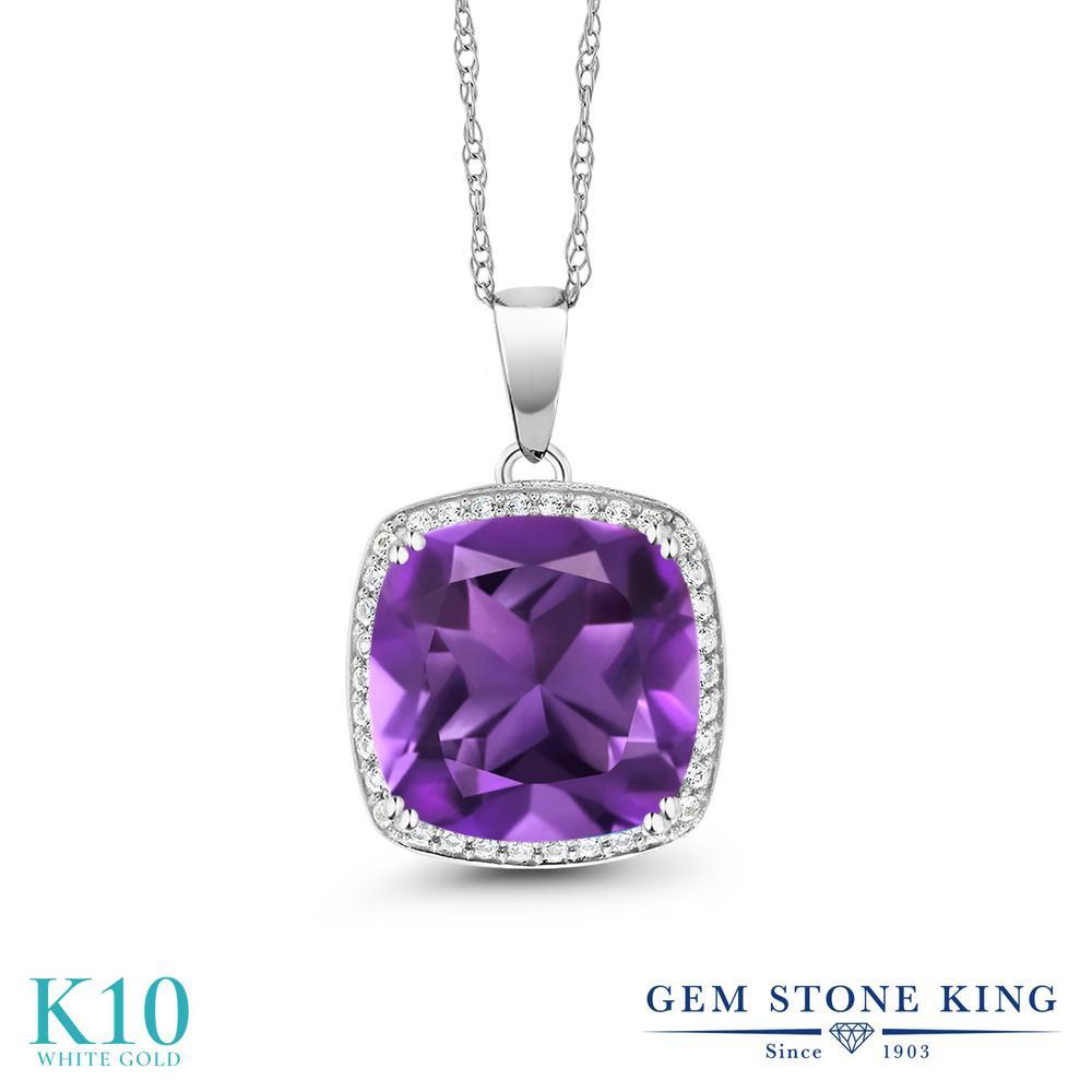 Gem Stone King 6.74カラット 天然 アメジスト 天然 ダイヤモンド 10金 ホワイトゴールド(K10) ネックレス ペンダント レディース 大粒 大ぶり 天然石 2月 誕生石 金属アレルギー対応 誕生日プレゼント