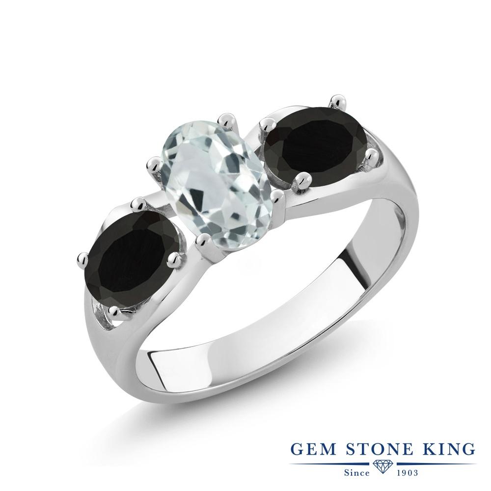 1.5カラット 天然 アクアマリン 指輪 レディース リング オニキス シルバー925 ブランド おしゃれ 3連 水色 シンプル スリーストーン 天然石 3月 誕生石 金属アレルギー対応