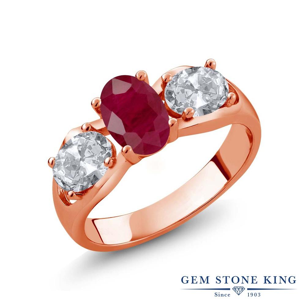 Gem Stone King 2.02カラット 天然 ルビー 天然 トパーズ (無色透明) シルバー925 ピンクゴールドコーティング 指輪 リング レディース 大粒 シンプル スリーストーン 天然石 7月 誕生石 金属アレルギー対応 誕生日プレゼント