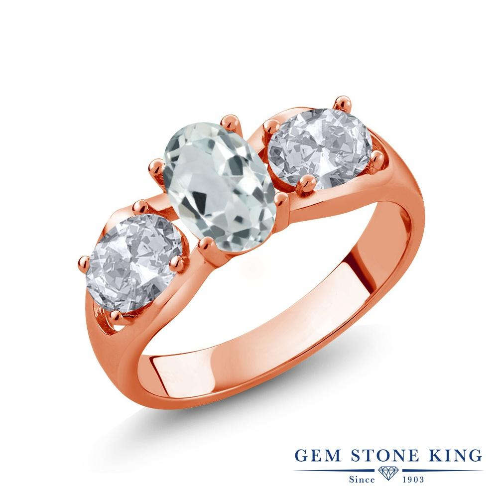 1.72カラット 天然 アクアマリン 指輪 レディース リング トパーズ ピンクゴールド 加工 シルバー925 ブランド おしゃれ 3連 水色 シンプル スリーストーン 天然石 3月 誕生石 金属アレルギー対応